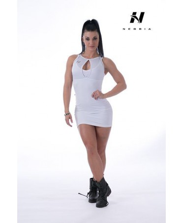abito in supplex bianco con cuciture che evidenziano il gluteo e le curve