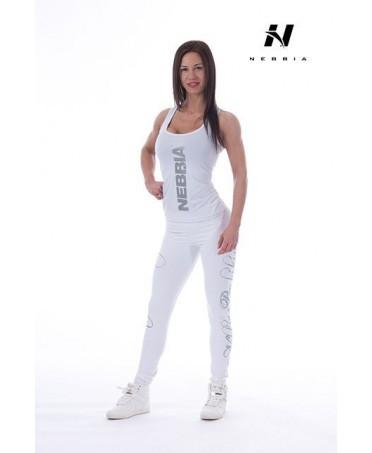 legging bianco in supplex con loghi in argento sulla gamba. elegante e pulito.