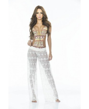 pantalone in pizzo bianco, lungo. sexy e accattivante, trasparenze che giocano sulle gambe della donna.babalu'