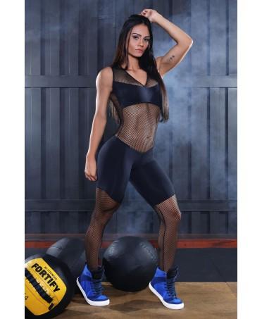 tuta aderente nera in rete canoan; un capo sportivo accattivante e sexy. La comodità' della donna sportiva che vuole apparire
