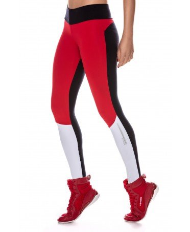 CALCA LEGGING ACTIVE PRETO VERMELLO BRANCO CANOAN