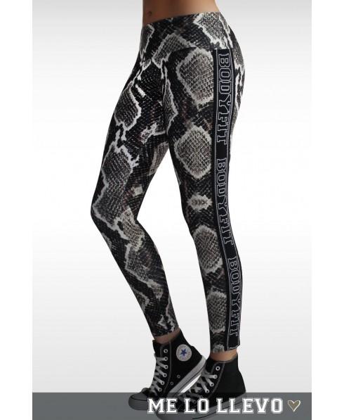 Legging black snake Bodyfit. Pantacollant stampa pitonata ultrarealistica con inserti elastici laterali neri.