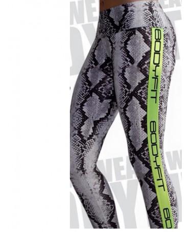 Pantacollant pitonato con inserti verde fluorescente sui lati. Bodyfit