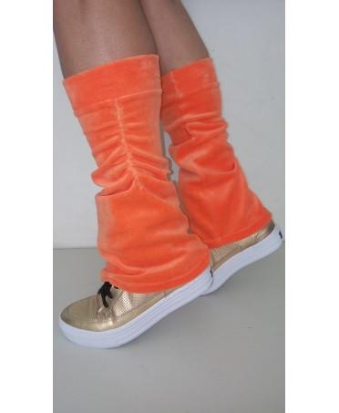 caldamuscoli arancio in ciniglia Canoan; morbidi ed elasticizzati, moda fitness, fantaleggins acquisti online,