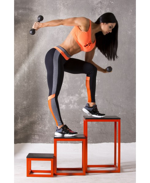 legging calca fuso action canoan arancio e nero con inserti in pizzo