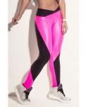 pantalone sportivo donna lucido: nero e fuxia. traspirante facilita l'eliminazione del calore e del sudore.anti odore