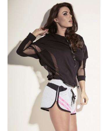 blusa superhot black fleece: blusa elegante in nero con grossi inserti trasparenti in tulle. tecnolgoia superhot