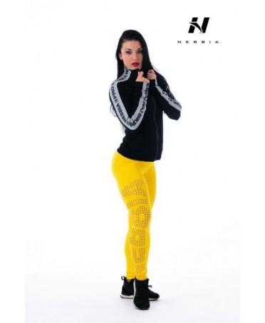 legging effetto push up giallo con stampa tattoo sul polpaccio. nebbia sempre innovativa presenta questo pantalone