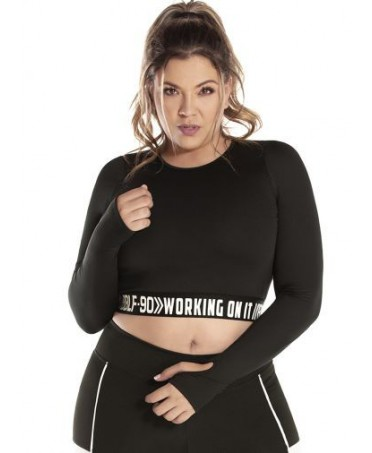 TOP PLUS SIZE BLACK LINED...
