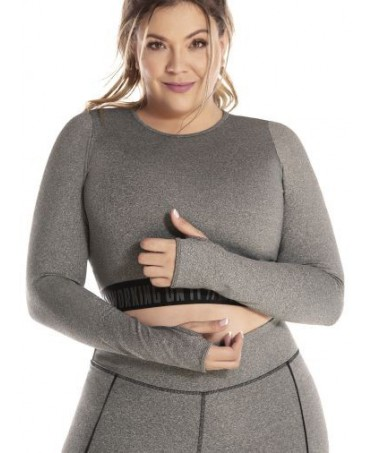 TOP PLUS SIZE GRAY LINED...