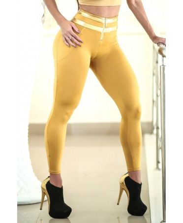 LEGGINGS GOLD HIGH WAIST...