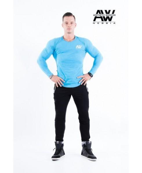 long sleeve nebbia turchese, maglia aderente uomo nebbia, moda maschile sportiva online,fantaleggins.com