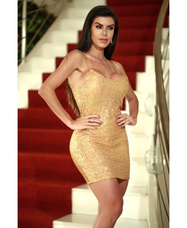 MINI DRESS IN GOLD SEQUINS...
