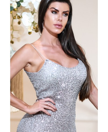 TANK TOP IN SILVER SEQUINS...