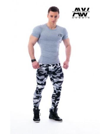legging camp man black, legging mimetico uomo con tasca interna nero grigio e bianco, fuseaux uomo aderenti fitness,