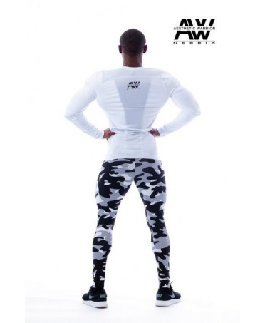slim trousers men in camouflage white and black. convenient to train, ideal for showing your leg muscles.