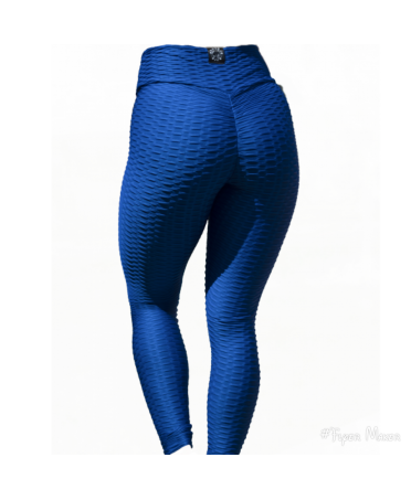 LEGGINGS MODELLANTI TESTURIZZATI BLU BOMBA FIT