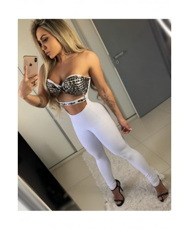 ELEGANT WHITE JUMPSUIT WITH DECORATED TOP WITHOUT SHOULDER MARY TUTTO AMORE OFICIAL