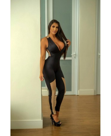 ELEGANT BLACK JUMPSUIT WITH INSERTS AND BACK IN POWDER TULLE ALL LOVE OFICIAL