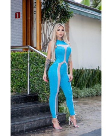 ELEGANT TURQUOISE JUMPSUIT COVERED WITH RHINESTONES WITH POWDER TULLE INSERTS ALL LOVE OFICIAL