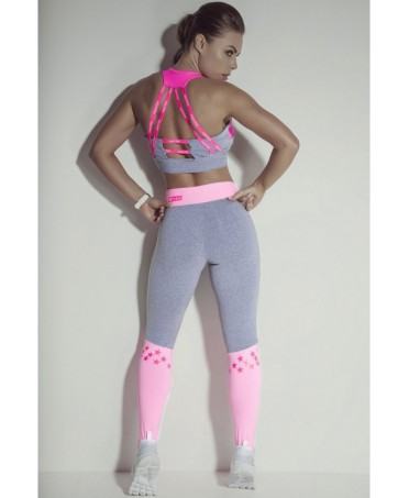 legging superhot rosa tenue con calzettone. cintura alta rosa. supplex compressivo