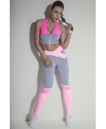 legging romantico in rosa confetto superhot. calzettone rosa con stelle gommate stampate.