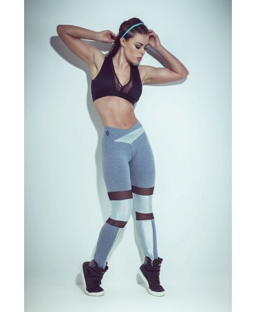 legging, sporty grey fabric sweatband, elastic, with clear inserts to the knees.