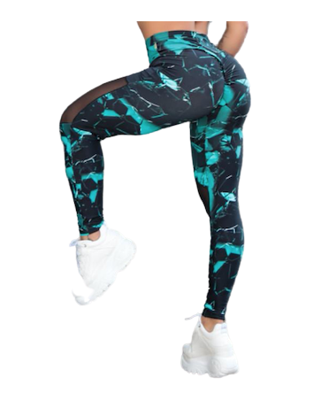 LEGGINS PUSH UP NERO E BLU...