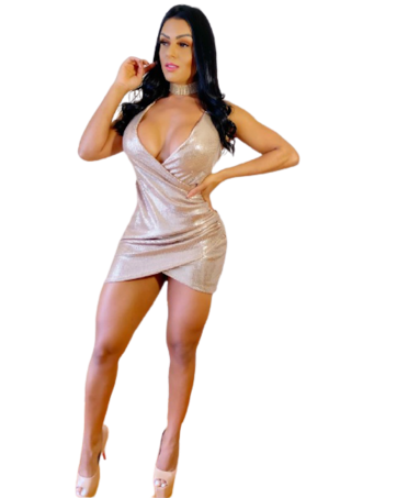 GOLDEN MINI DRESS WITH...