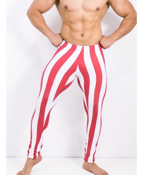 pantalone aderente uomo, righe bianche e rosse, pantacalze uomo, abbigliamento palestra uomo, bodybuilding