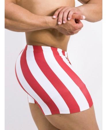 pantaloncino aderente uomo, righe bianche e rosse, shorts man aderenti per palestra
