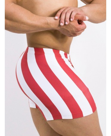 shorts clingy man, red and white stripes, shorts man tight for the gym