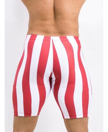 bermuda uomo aderenti a righe bianche e rosse, fitness wear uomo fantaleggins