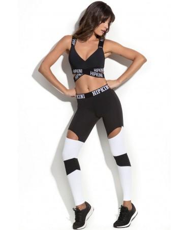calca legging mo croatia open, pantacollant bianco e nero con ginocchio scoperto, hipkini supplex antibatterico antisudore