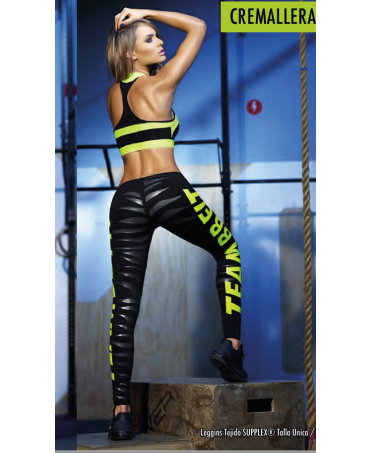fantaleggins online for your sportswear, pantacollat black with yellow inscription fluo,