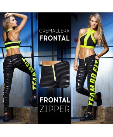 full gym, top and leggings for workout, black and fluorescent yellow,
