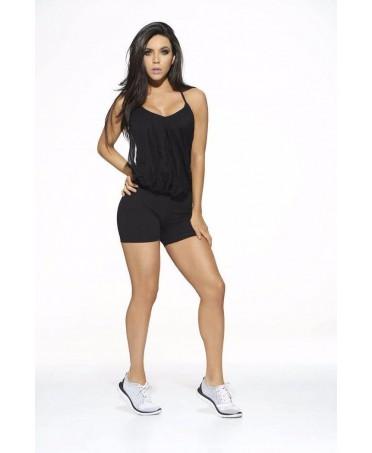 tuta intera con bustino in tulle nero drappeggiato e morbido, shopping fitness wear online, tutina con pantaloncino corto, babal