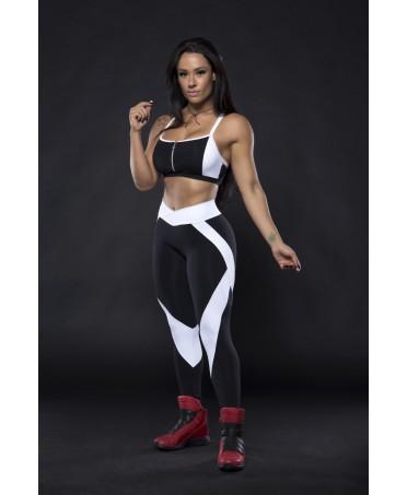 leggings allenamento bianco e nero, tessuto contenitivo,
