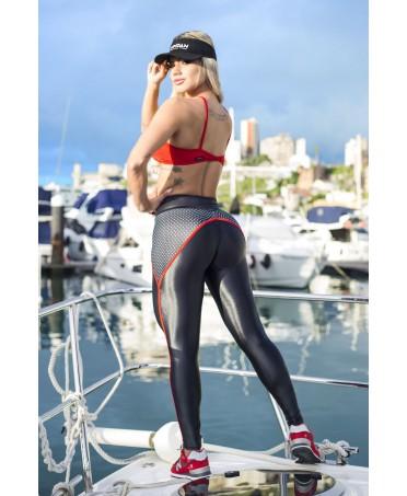 shopping online, fuseaux pois bianchi e neri, moda per attivita' sportive, vendita online fitness, tessuto contenitivo