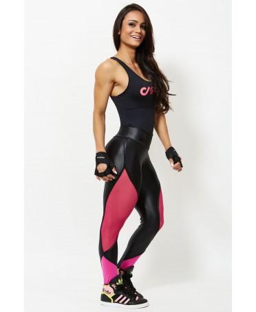 legging neri lucidi, pantacollant con tulle, fuseaux rosa e fuxia,