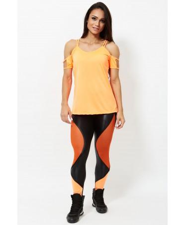 legging color arancio, leggings con inserti in tulle elasticizzato, pantacollant sexy per palestra,