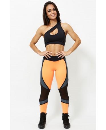 pantacollant neri e gialli, fuso palestra bicolore, fitness wear, fantalegging store online,