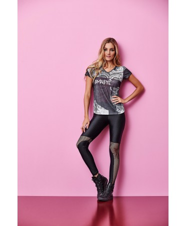 Leggings black Cajubrasil with insert, micromesh perforated black lycra shiny for leggings shaping control,