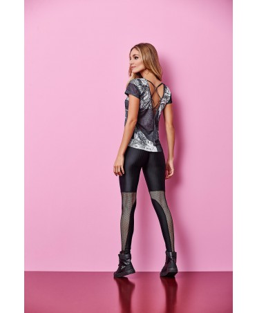Leggings black women's Cajubrasil with mesh inserts and shiny fabric, and precious technology with breathable,