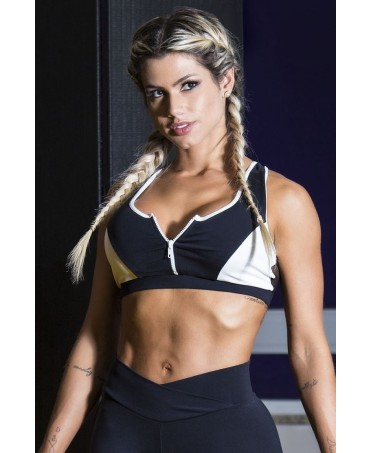 top canoan bianco e nero, reggiseno sportivo imbottito in supple, fitness wear, sostegno per il seno,