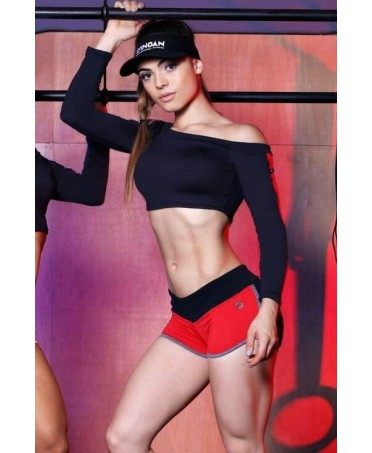 top one shoulder canoan, with details in red. supplex black, complete sport man woman brazilian fashion,