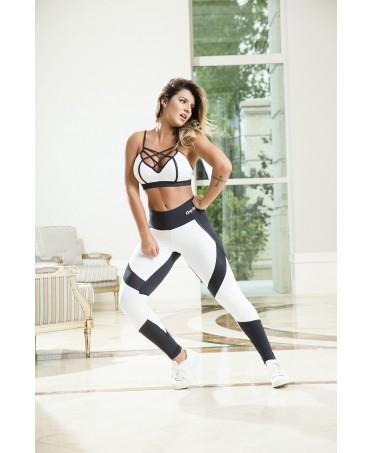 legging bianco non trasparente con inserti neri, abbigliamento tecnico per fitness e body building, moda sportiva,