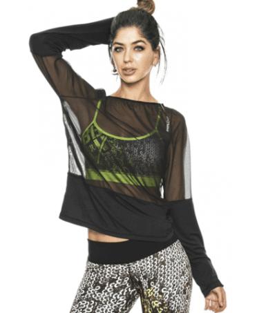 maglia nera trasparente a manica lunga babalu', abbigliamento sportivo sexy, fantaleggings fitness wear,
