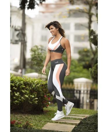 top rosa grigio bianco imbottito con coppe, coordinati per body building uomo e donna, fantaleggings fitness wear e integratori