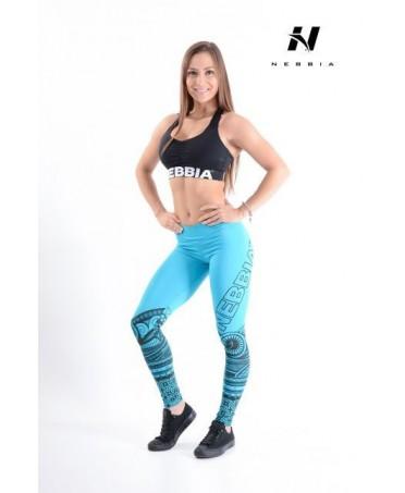 legging blu con stampe tribali gommate sulle gambe, fantaleggins moda per tutti gli sport, completi sportivi,